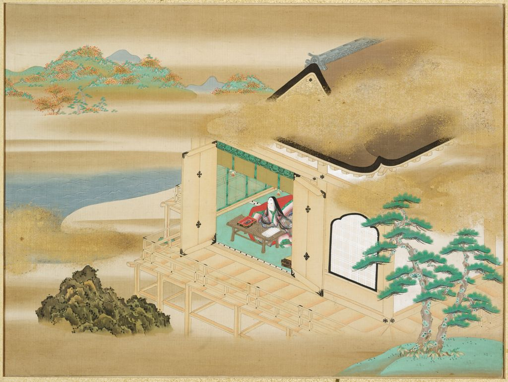 Landscape With Murasaki Shikibu Writing At Ishiyamadera (Frontispiece To An Album Containing 54 Illustrations And Calligraphic Excerpts From The Tale Of Genji)
