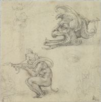 Goldsmith's Designs, Including Two Ideas For An Oil Lamp; Verso: Study For A Sarcophagus In The New Sacristy Of San Lorenzo