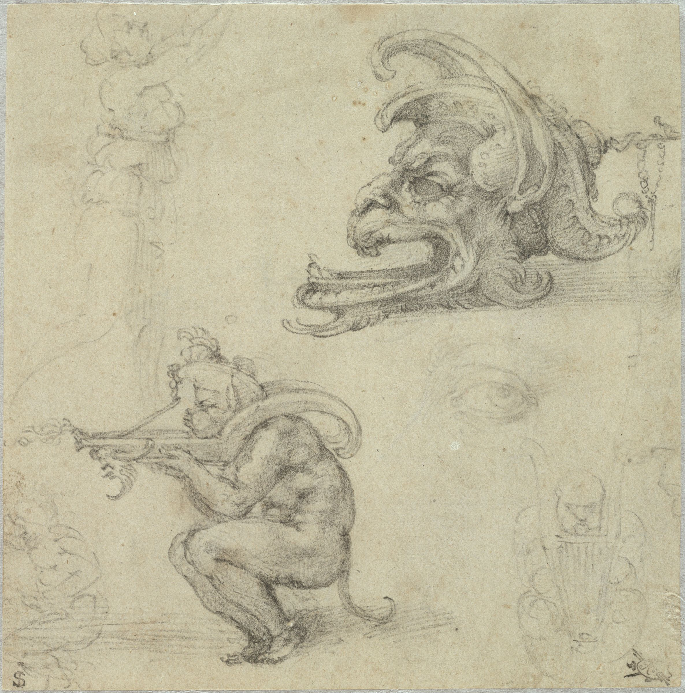 Goldsmith's Designs; Verso: Study For The Magnifici Tomb In The Medici Chapel