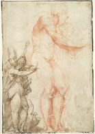 Standing Male Nude, Saint John the Evangelist with a Bishop or Abbot Saint; verso: Seated Male Nude