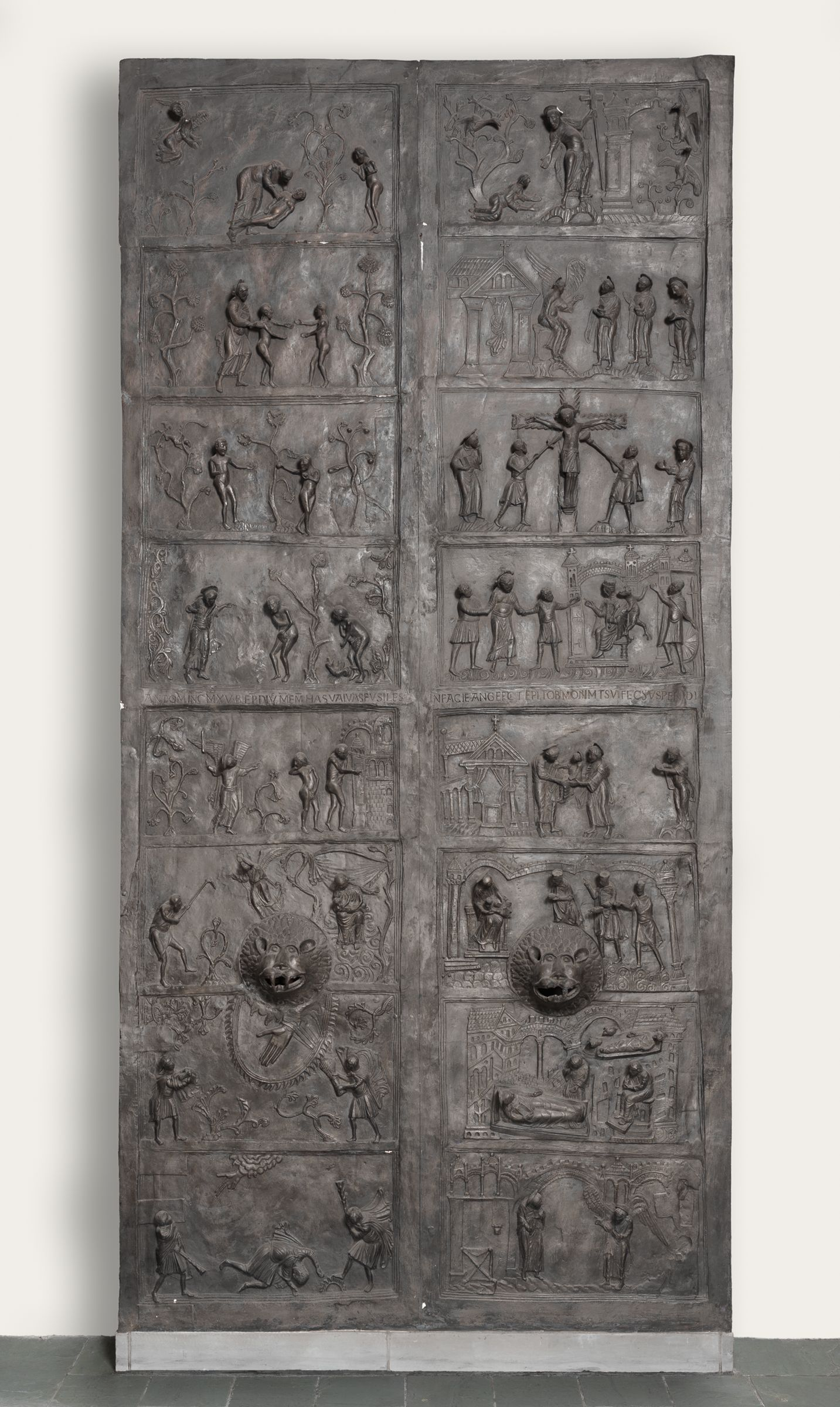 Replica Of The Bronze Doors (1015) Installed In The West Portal Of Hildesheim Cathedral, Germany