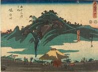 No. 48, Sakanoshita: The Mountain Where the Old Master Threw Away His Brush (Kohōgen Fudesuteyama), from the series The Tōkaidō Road, The Fifty-three Stations (Tōkaidō, Gojūsan tsugi no uchi)