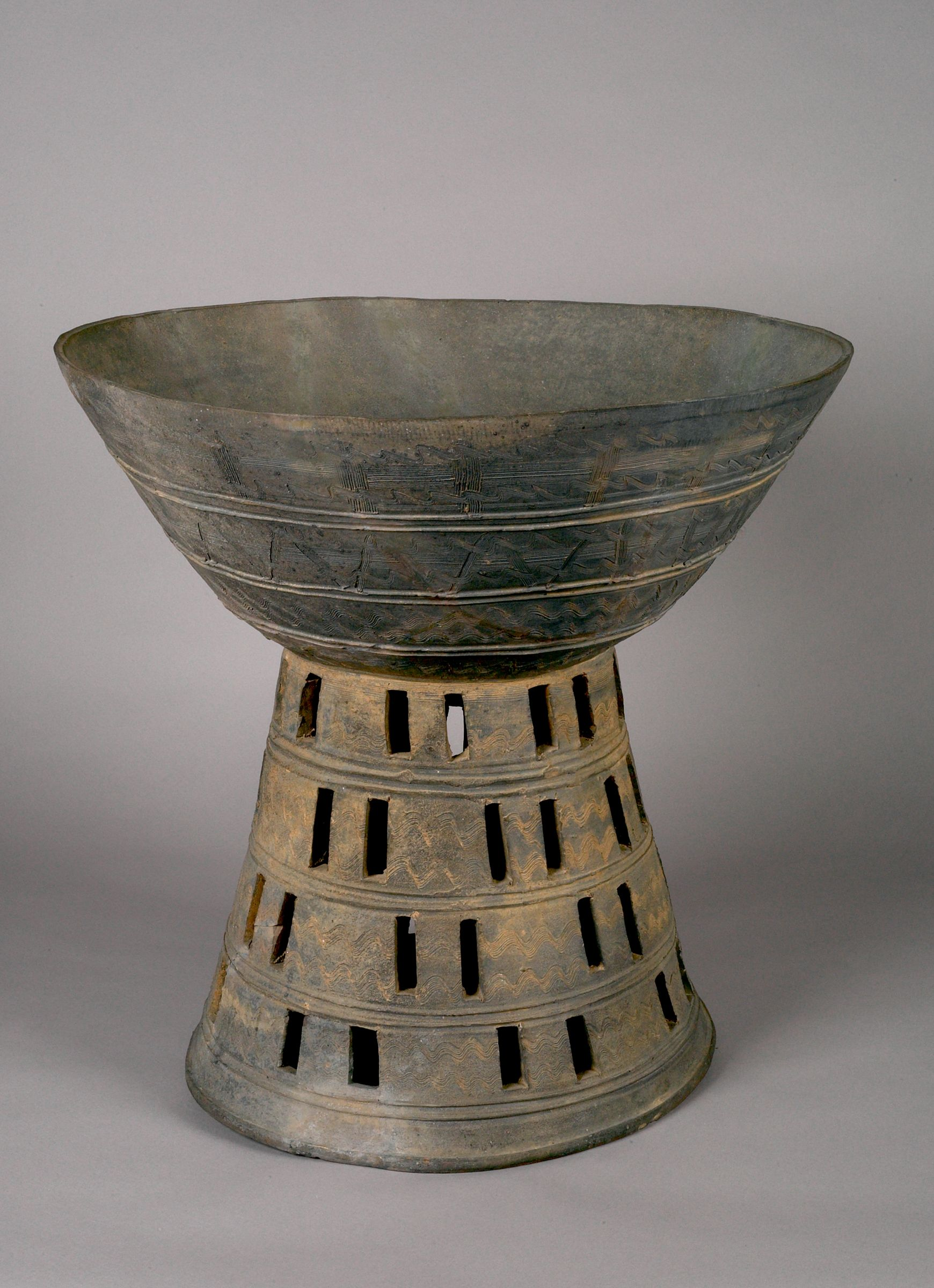 Large Bowl-Type Pedestal Stand With Abstract And Openwork Decoration