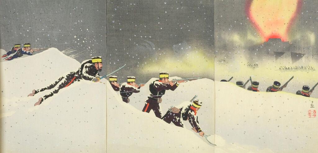 Triptych: Hyaku-Shaku Gaisho Kōgeki No Zu