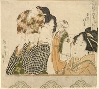 Two Women Playing Hand Puppets of Noroma and Soroma/ Noroma Kyōgen, The Great Buddhist Clergy (Daihōin)