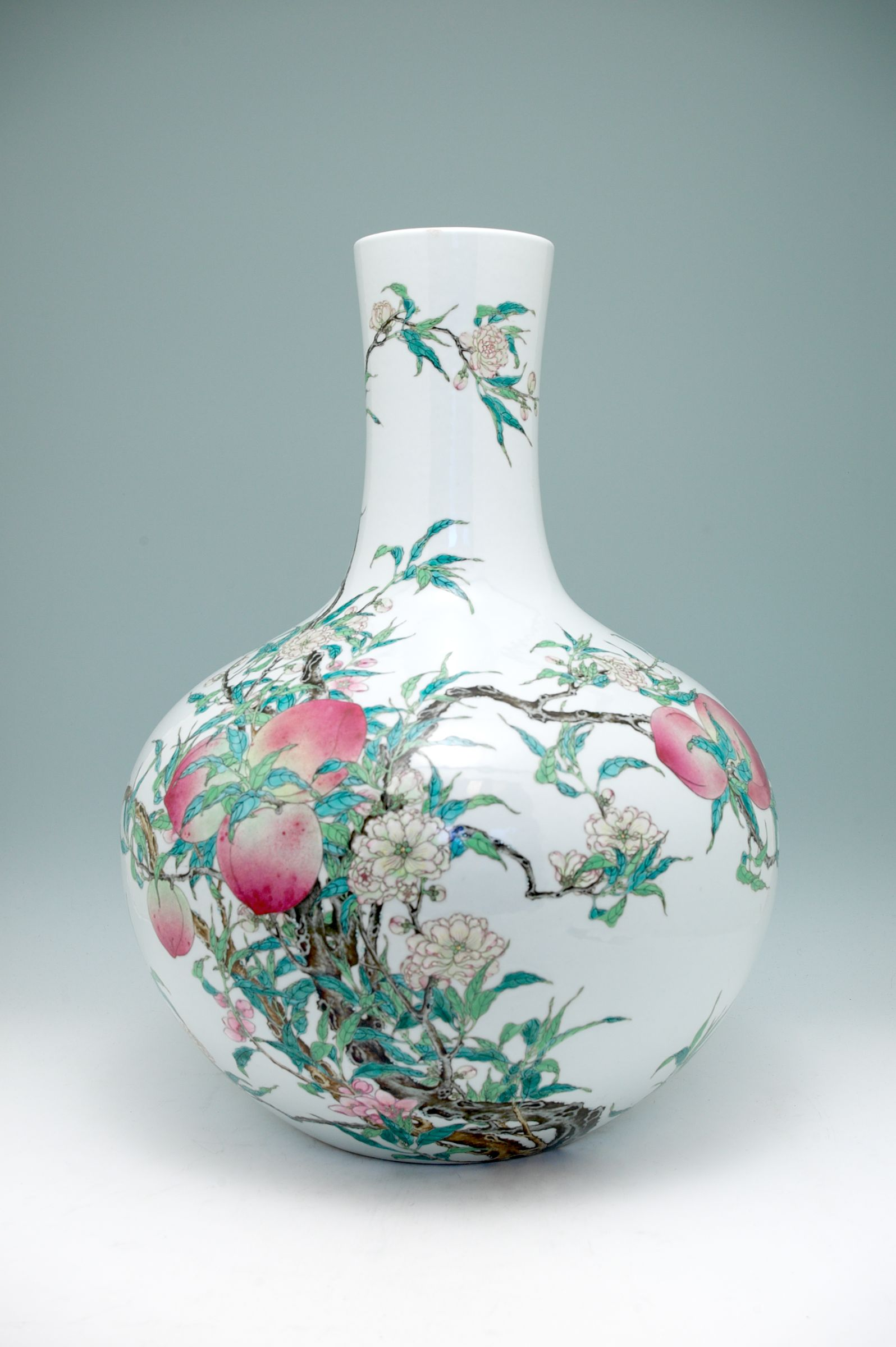 Large Vase With Long, Straight, Cylindrical Neck And With Decoration Of Blossoming And Fruiting Peach Branches