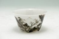 Cup with Flaring Sides and with Decoration of a Mountainous Landscape on the Exterior and of Five Bats on the Interior