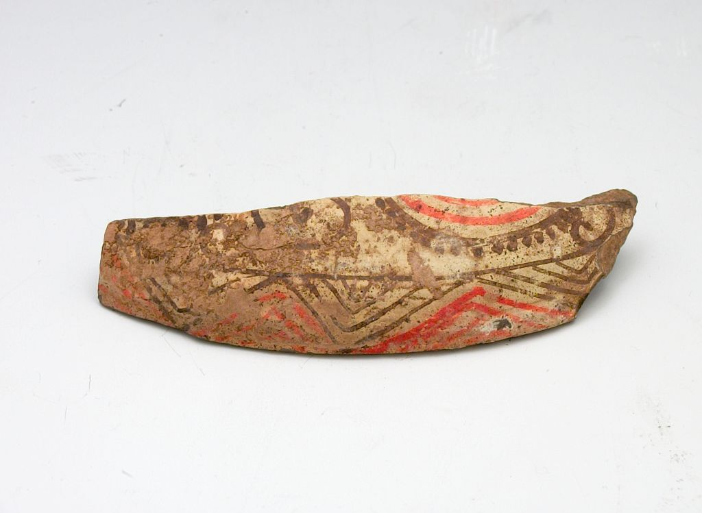One Of Ten Miscellaneous Fragments Of Painted Funerary Ware