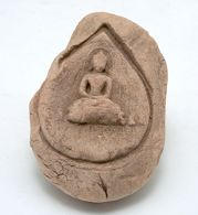 Unfired Clay Plaque in the Form of a Pipal Leaf with Seated Buddha Decor