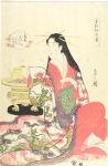 Hanabito of the Ōgiya, with kamuro Momiji and Sakura from the series New Year Fashions as Fresh as Young Leaves (Wakana hatsu ishō)