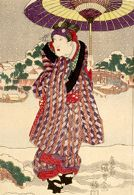 Actor Iwai Kumesaburō 2nd on the Bank of the Sumida River, from an untitled series of actors on the theme of Snow, Moon and Flowers