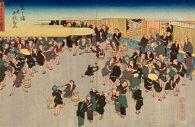 Rice Market at Dōjima (Dōjima kome akinai), from the series Famous Views of Osaka (Naniwa meisho zue)