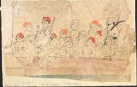 Drawing of a Group of Sixteen Men Behind a Wall