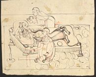Lady Reclining on Bench, Attended by Two Maidservants