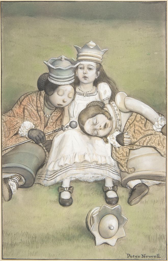A little girl with a crown on her head is seated on the grass. She wears a white ruffled dress, and her petticoat peeps out from her skirt. Two women lean against her on either side. The woman on the left, who is asleep on the girl's right shoulder, is wearing a crown, an orange patterned shawl, and black gloves and holds a scepter in her right hand. The woman on the right, who is asleep in the girl's lap, is wearing an orange patterned shawl, a beaded necklace, and black gloves. A crown is lying in the grass in the foreground.