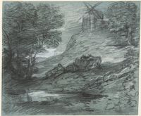Wooded Landscape With Rustic Lovers, Packhorses And Windmill