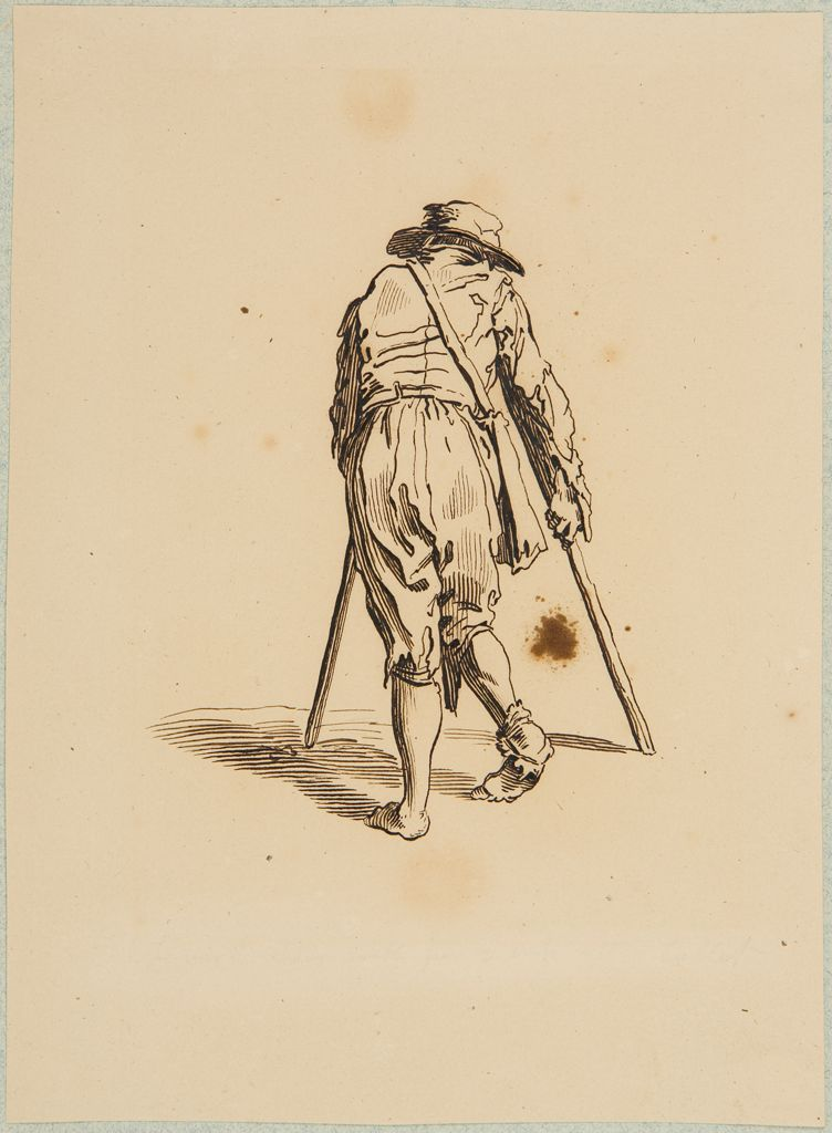 Beggar On Crutches Wearing A Hat And Seen From Behind, After Callot