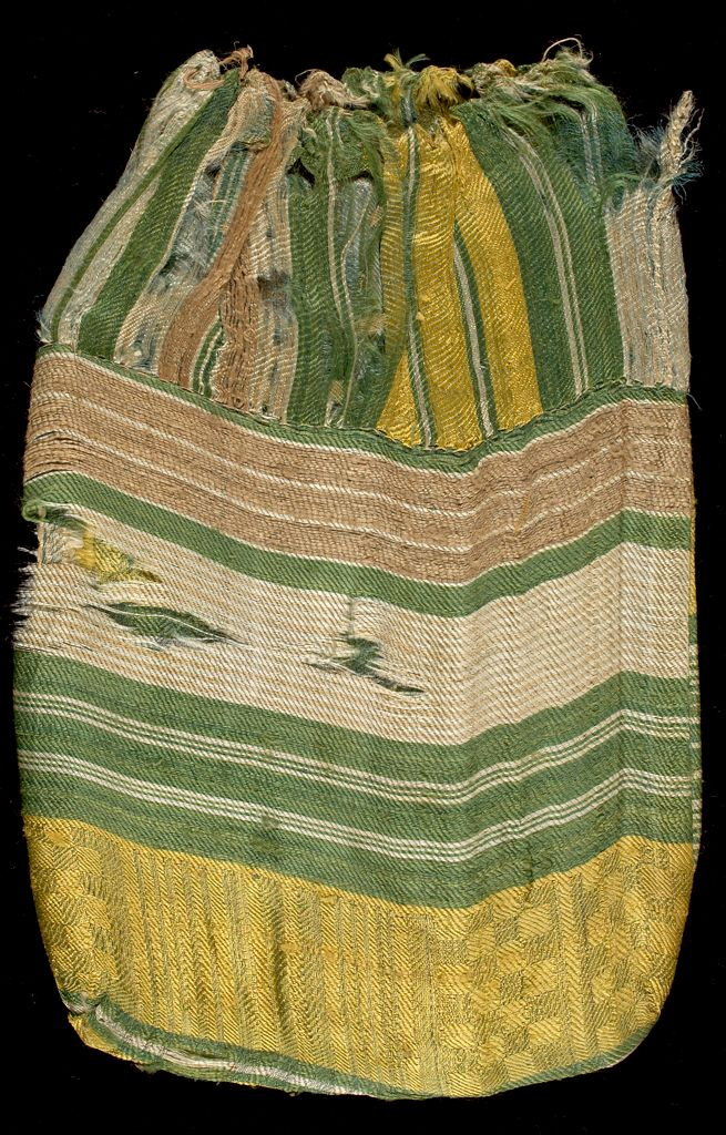 Silk Bag With Striped And Square Patterns Of Yellow, Pale Green, Brown, And White