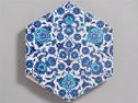 Hexagonal Tile With Floral And Cloud Pattern