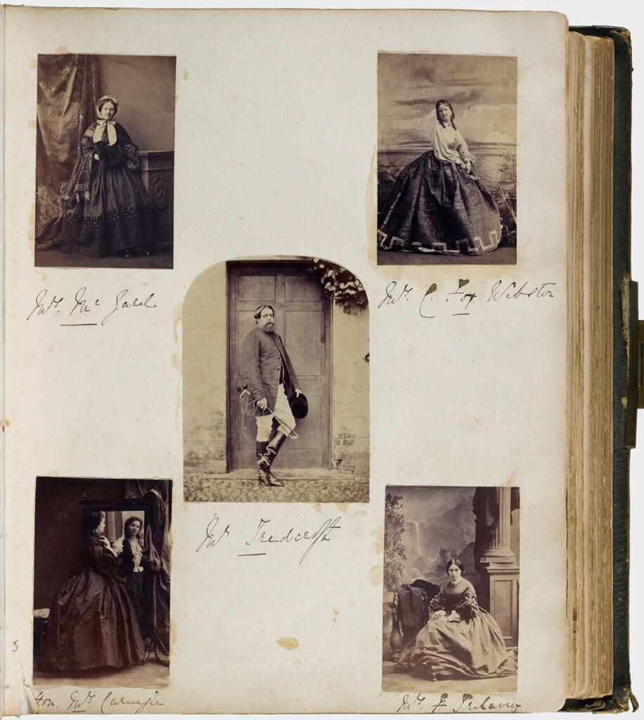 Untitled (Five Photographs, Clockwise From Upper Left, Mrs. Mcgald; Mrs. C. Fox Webster; Mrs. H. Trelawny; Hon. Mrs. Carnegie; Center, Mr. Teedcroft)