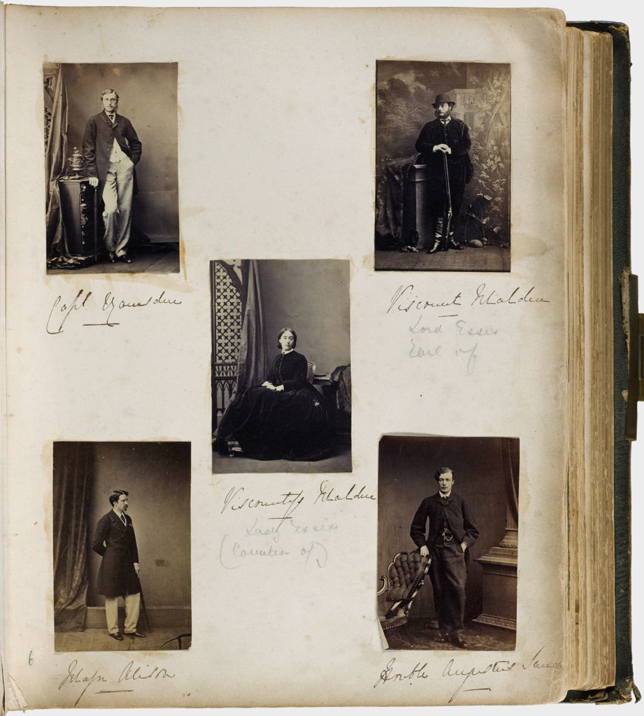 Untitled (Five Photographs, Clockwise From Top Left, Name Illegible, Full Length Of Man Standing, Right Hand Resting On Cabinet, Left Hand In Trouser Pocket; Viscount Malden; Honorable Augustus Sandys; Major Alison; Center, Viscountess Malden)