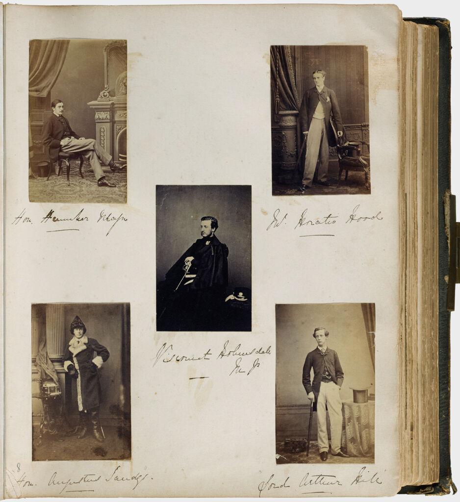 Untitled (Five Photographs, Clockwise From Top Left, Hon. Henniker Major; Horatio Hood; Lord Arthur Hill; Hon. Augustus Sandys; Center, Viscount Holmesdale)