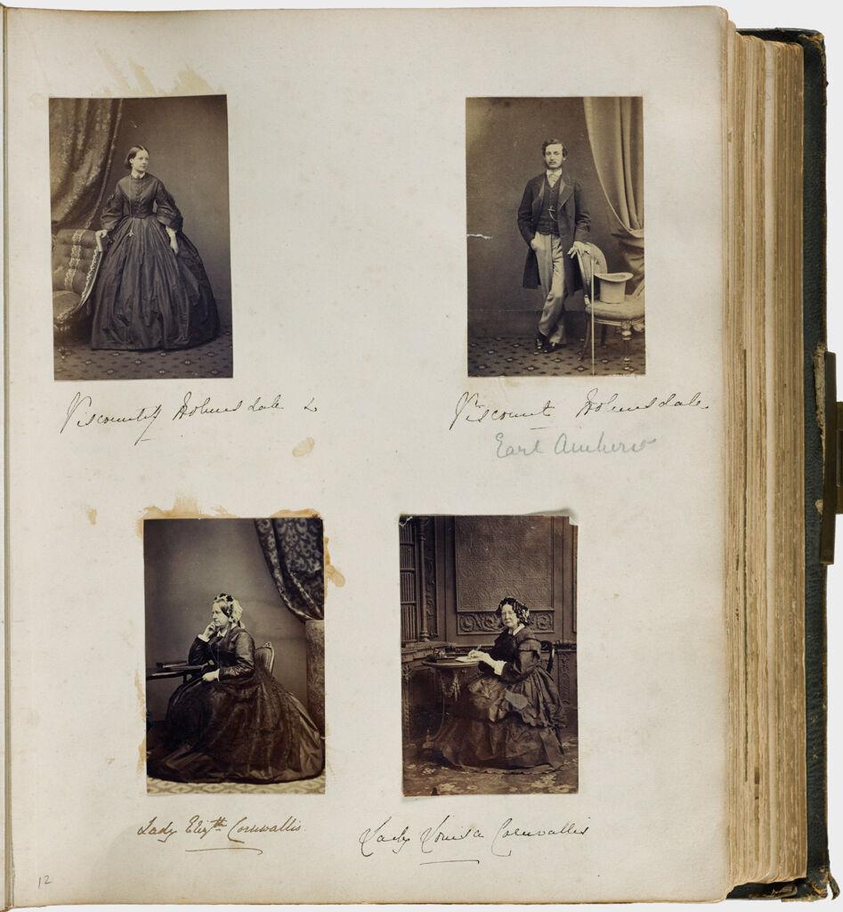 Untitled (Four Photographs, Clockwise From Upper Left, Viscountess Holmesdale; Viscount Holmesdale; Lady Louisa Cornwallis; Lady Elizabeth Cornwallis)