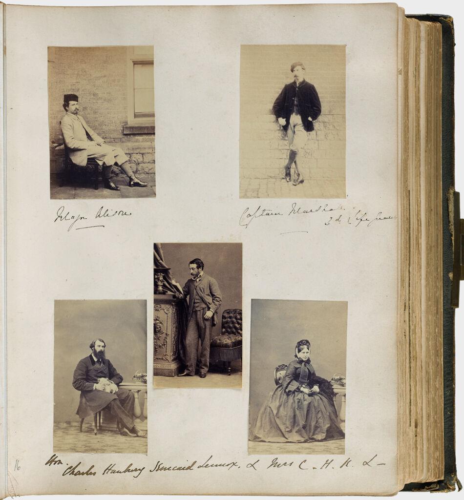 Untitled (Five Photographs, Clockwise From Top Left, Major Alison; Captain Marshall; Mrs. Charles Spencer Lennox; Charles Hanbury Kincaid Lennox; Center, Honorable Charles Hanbury)