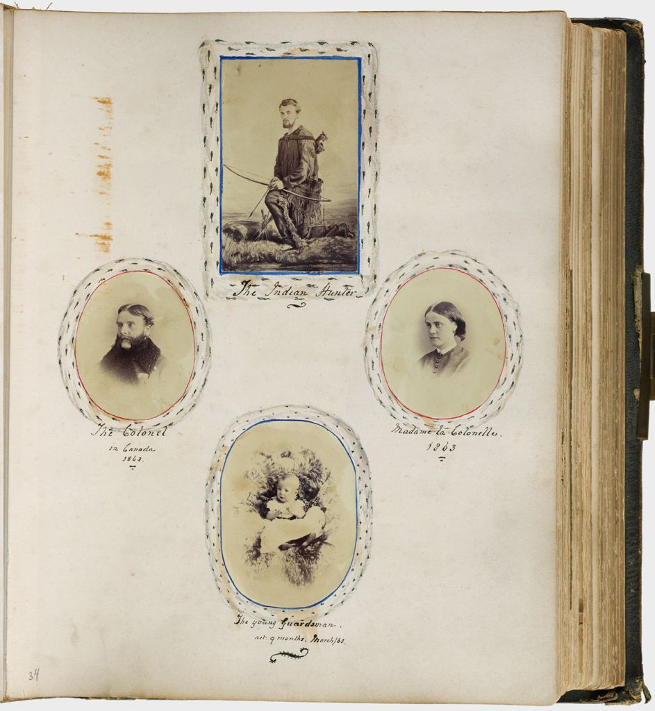 Untitled (Four Photographs, Clockwise From The Top Center, The Indian Hunter; Madame La Colonelle, 1863; The Young Guardsman At 9 Months. March/63; The Colonel In Canada. 1863)