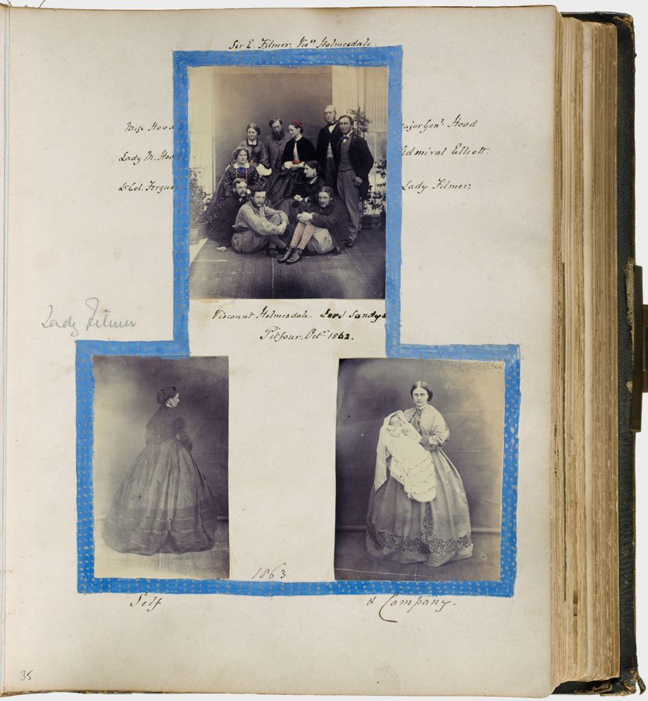 Untitled (Three Photographs, Top, Group Photograph Taken At Pitfour, October 1862; Lower Left, Lady Mary Filmer; Lower Right, Lady Filmer With Infant, Possibly Edmund Beversham Filmer (1862-63))