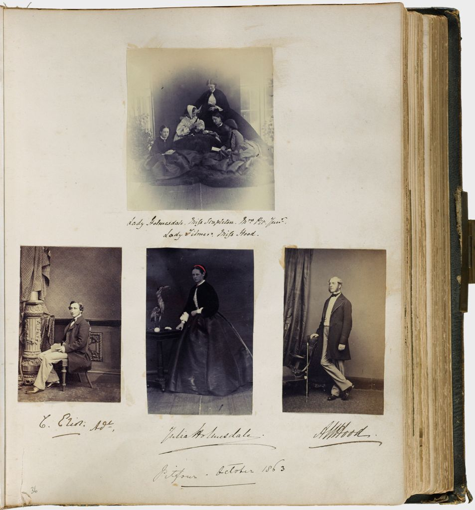 Untitled (Pitfour - October 1863, Four Photographs, Clockwise From Top; Group Photograph, Lady Holmesdale, Miss Stapleton, Mrs. Pit Junior, Lady Filmer, Miss Hood; A. W. Hood; Julia Holmesdale; E. Eliot Adr.)