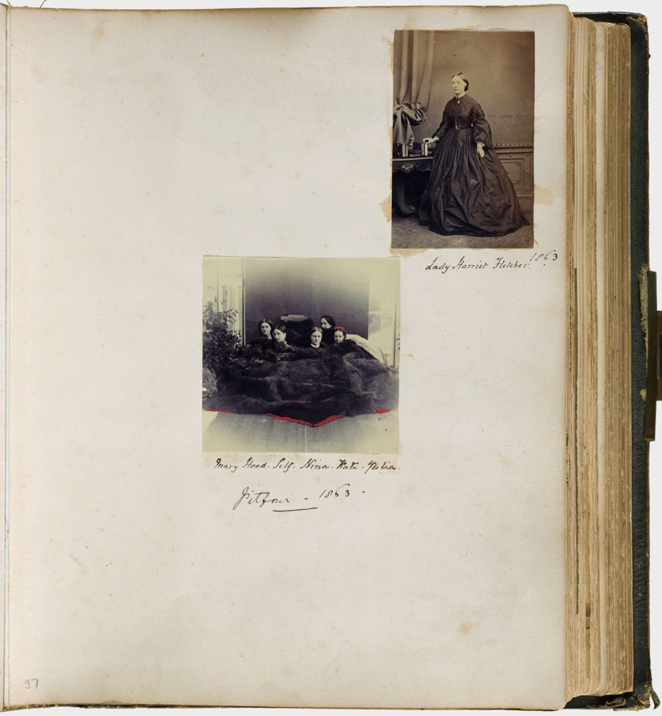 Untitled (Pitfour - 1863, Two Photographs, Top, Lady Harriet Fletcher, 1863); Center, Mary Hood, Self (Lady Filmer), Kate Julia)
