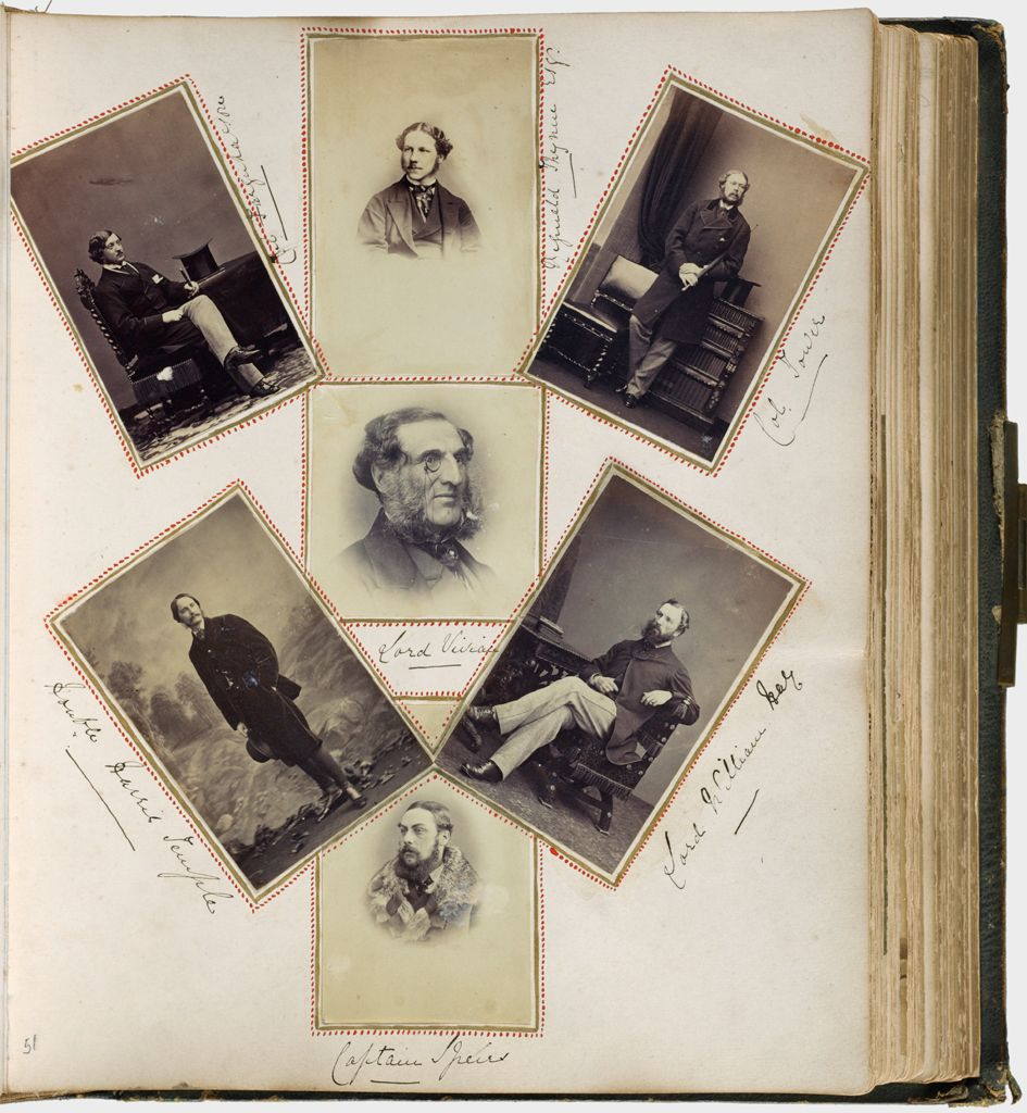 Untitled (Seven Photographs, Clockwise From Upper Left, Col. Farquharson; Reginald Thynne Esq.; Col. Tower; Lord William Hay; Captain Speirs; Honorable Harris Temple; Center, Lord Vivian)