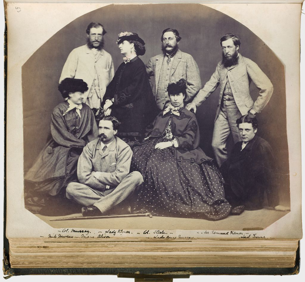 Untitled (Group Photograph, Standing From Left To Right, Col. Murray; Lady Filmer; Col. Steele; Sir Edmund Filmer; Seated From Left To Right, Miss Murray; Major Alison;  Lady Agnes(?) Murray; Lord Tyrone; Verso: Eleven Names Not Related To The Group Photograph Recto)
