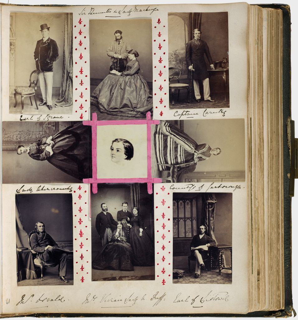 Untitled (Nine Photographs, Clockwise From Upper Left, Earl Of Tyrone; Sir ? And Lady Mackenzie; Captain Coventry; Countess Of Scarbrough; Earl Of Listowel; Miss Vivian An Lady A. Duff (With Two Unidentified Men); Mr. Oswald; Lady Abercromby; Center, Photograph Of Drawing Of Unidentified Sitter)