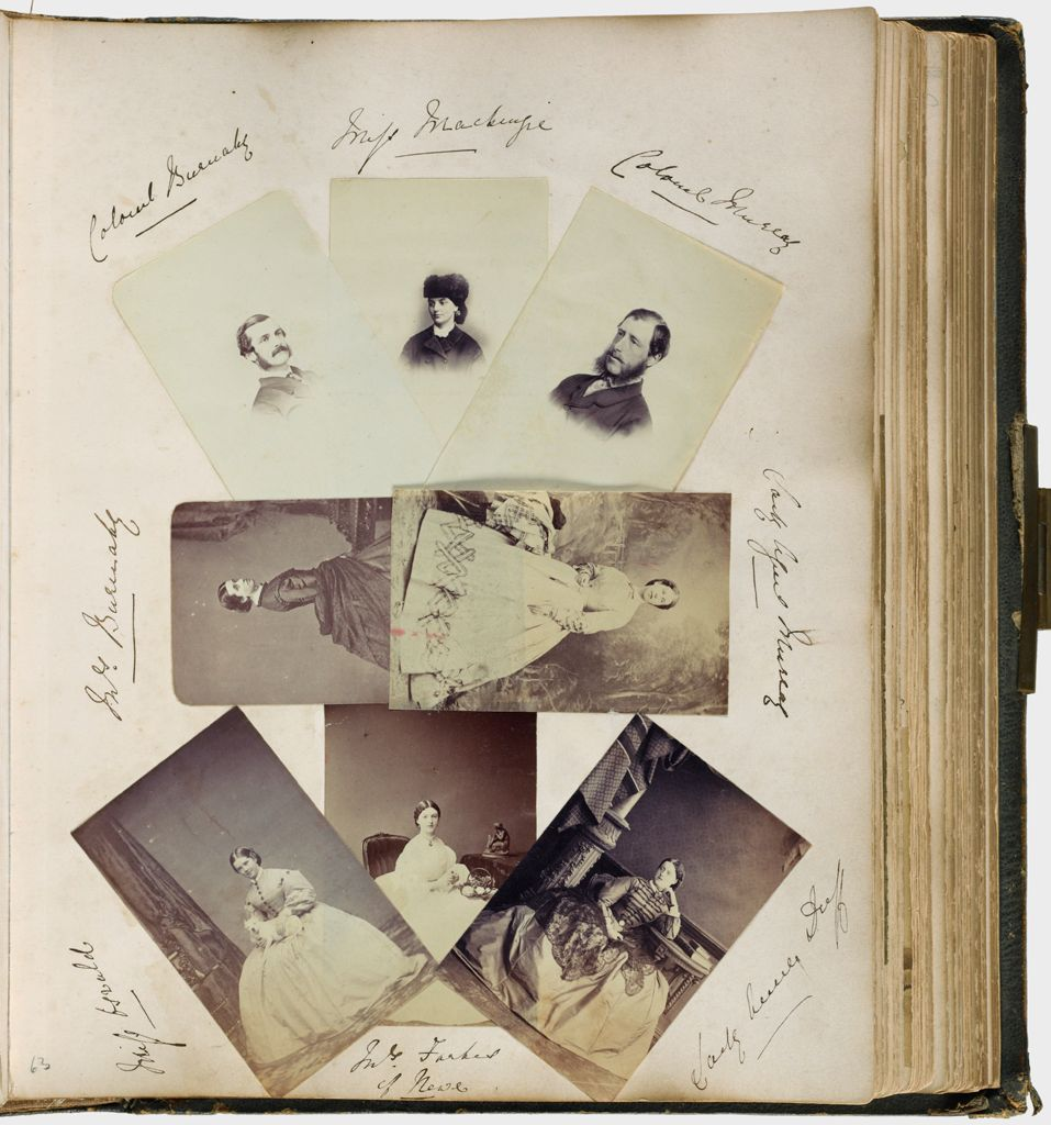 Untitled (Eight Photographs, Clockwise From Upper Left, Colonel Burnaby; Miss Mackenzie; Colonel Murray; Lady Alfred Murray; Lady ? Duff; Mrs. Farher(?) Of Howe; Miss Oswald; Mrs. Burnaby)