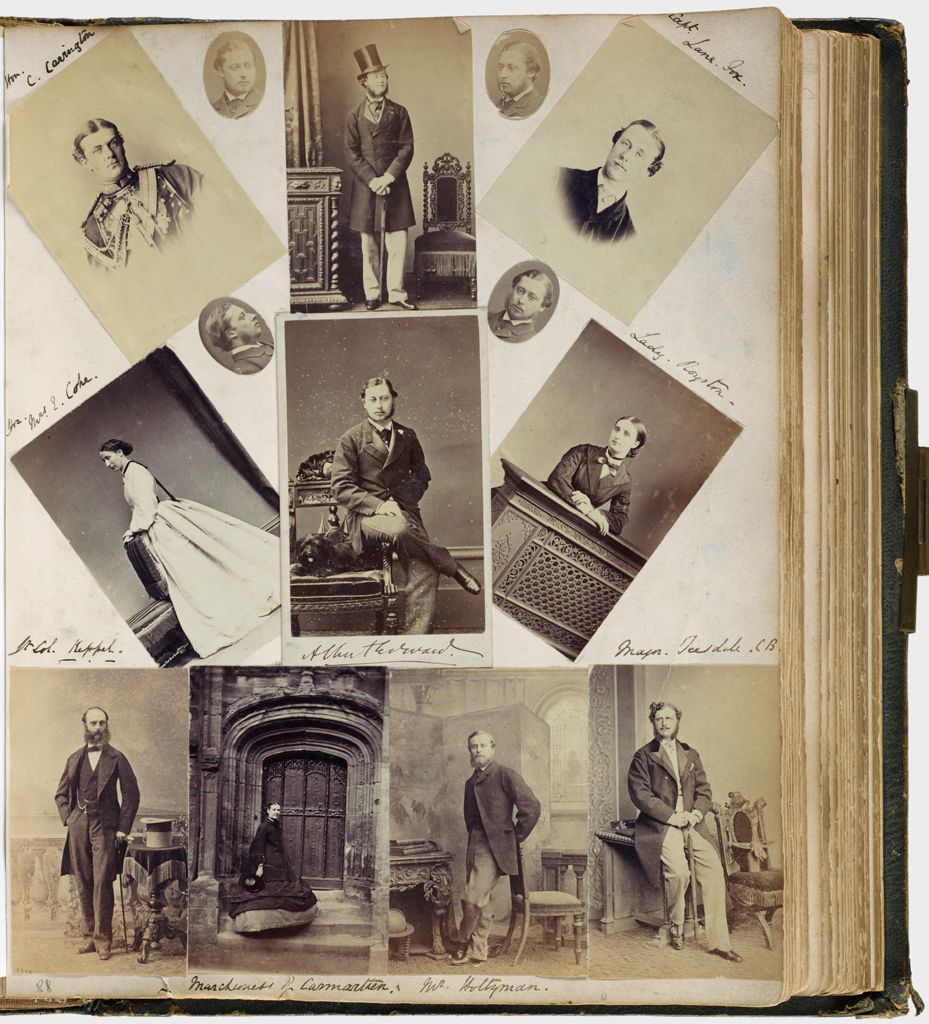 Untitled (Fourteen Photographs Clockwise From Upper Left, Hon. C. Carrington; Albert Edward (W/dog In Center); Capt. Lane Fox; Lady Royston; Maj. Teesdale; Mr. Holtzman; Marchioness Of Carmarthen; Lt. Col. Keppel; Hon. Mrs. E. Coke; Verso, Viscount Newry Seated On Terrace With View Of Grounds In The Background)