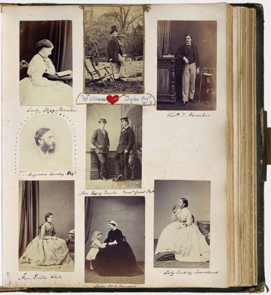 Untitled (Eight Photos, Clockwise From Upper Left, Lady Alice Henniker; William Dyke, Esq; Hon. J. Henniker; Lady Audrey Townshend (W/Bird); Lady Edith Ferguson (W/Child); Hon. Emilie White; Augustus Lumley, Esq; Center, Hon Harry Bourke & Montague Guest)