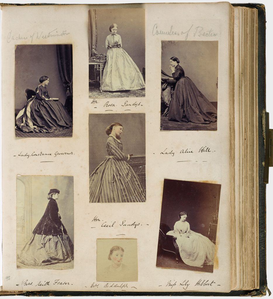 Untitled (Seven Photos, Clockwise From Upper Left, Lady Constance Grosvenor; Hon. Rosa Sandys; Lady Alice Hill; Miss Lily Hibbert; Mrs. Biddulph [Reproduction W/highlighting]; Mrs. Keith Fraser, Center, Hon. Cecil Sandys; Verso: Graphite Inscript.)