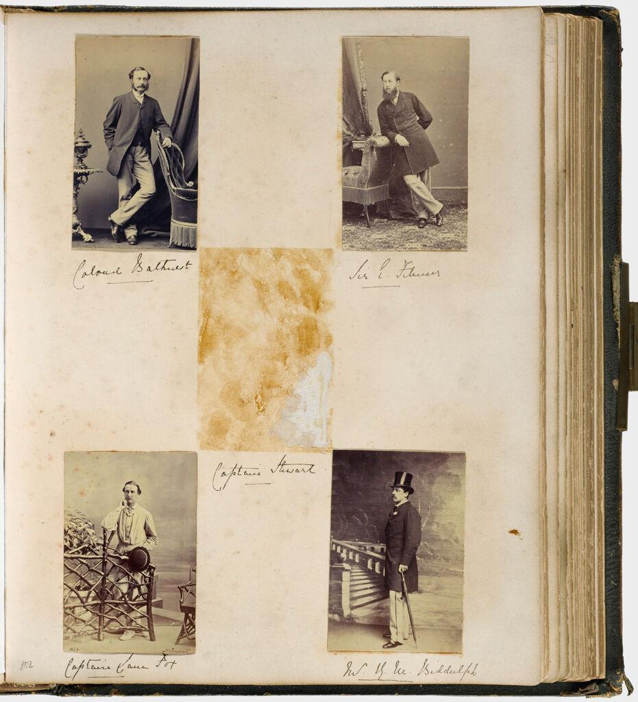 Untitled (Four Photographs, Colonel Bathurst; Sir E. Filmer; Mr. (?) Biddulph; Captain Lane Fox; Center Photograph Of Captain Stewart Is Missing)