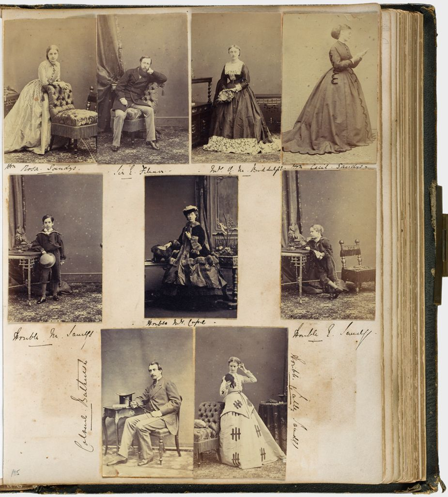 Untitled (Nine Photographs, Clockwise From Top Left, Hon. Rosa Sandys; Sir E. Filmer; Mrs. (?) Biddulph; Hon. Cecil Sandys; Hon. E. Sandys; Hon. Sally Sandys; Colonel Bathurst; Hon. M. Sandys; Center Hon. Mrs. Capel; Verso: