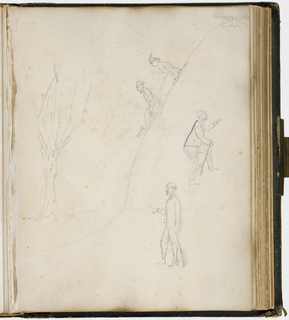 Untitled (Sketches In Graphite; Verso: Eleven Photographs Various Sitters, Five Trimmed To Oval, Clockwise From Upper Left, Lord Sandys; Lord George Paget; Hon. Charles Montague; Col. Leo Seymour; Lord Algernon Gordon Lennox; Col. Philip Smith; Center, Four Small Ovals Of Countess Of Listowel, Large Oval In Center, Name Is Indecipherable)