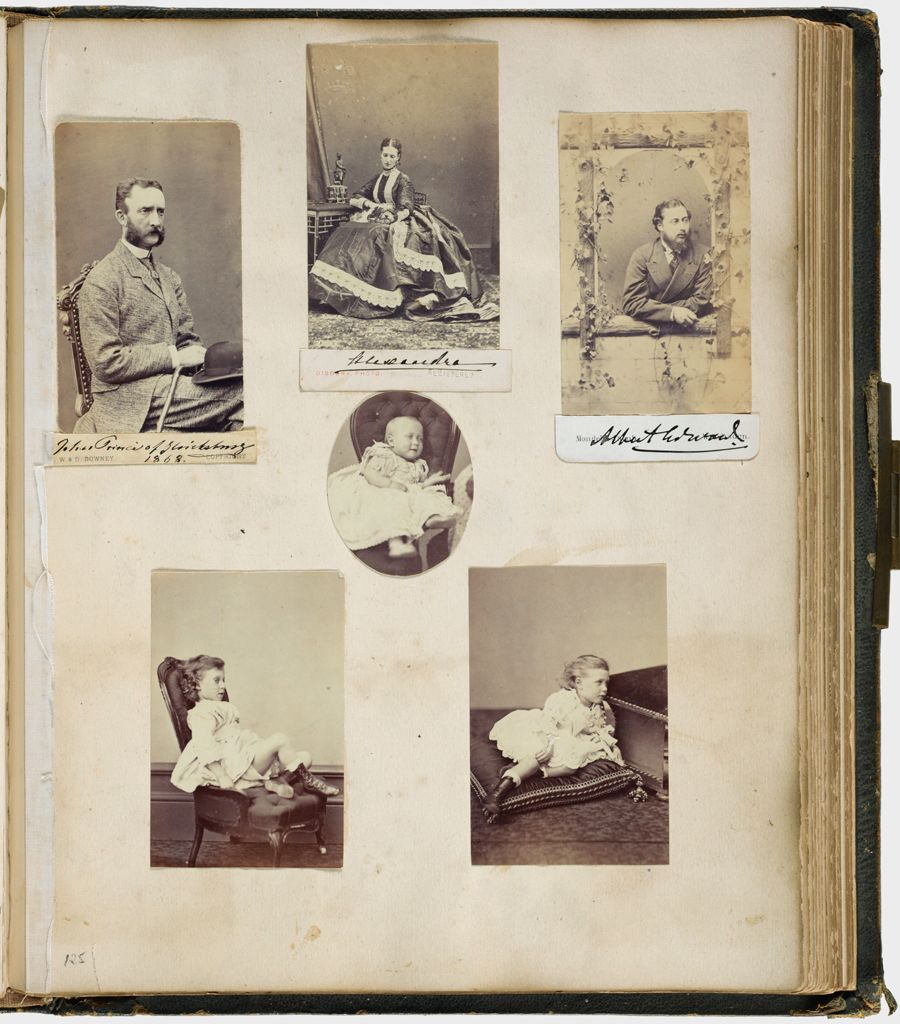 Untitled (Six Photographs, Center Trimmed To Oval, Clockwise From Upper Left, Johan Prince Of Glucksburg; Alexandra, Princess Of Wales; Albert Edward, Prince Of Wales; Three Unidentified Children; Verso: Nine Photographs, Clockwise From Upper Left, Colonel White; Edward Hussey, Esq.; Sir Hope Palmer; Hon. Flora Hood; Lady Cotterell; Lady Constance Howard; Mrs. Dalrymple; Lady Susan Vane Tempest; Center, Lady Edwin Hill Sandys)