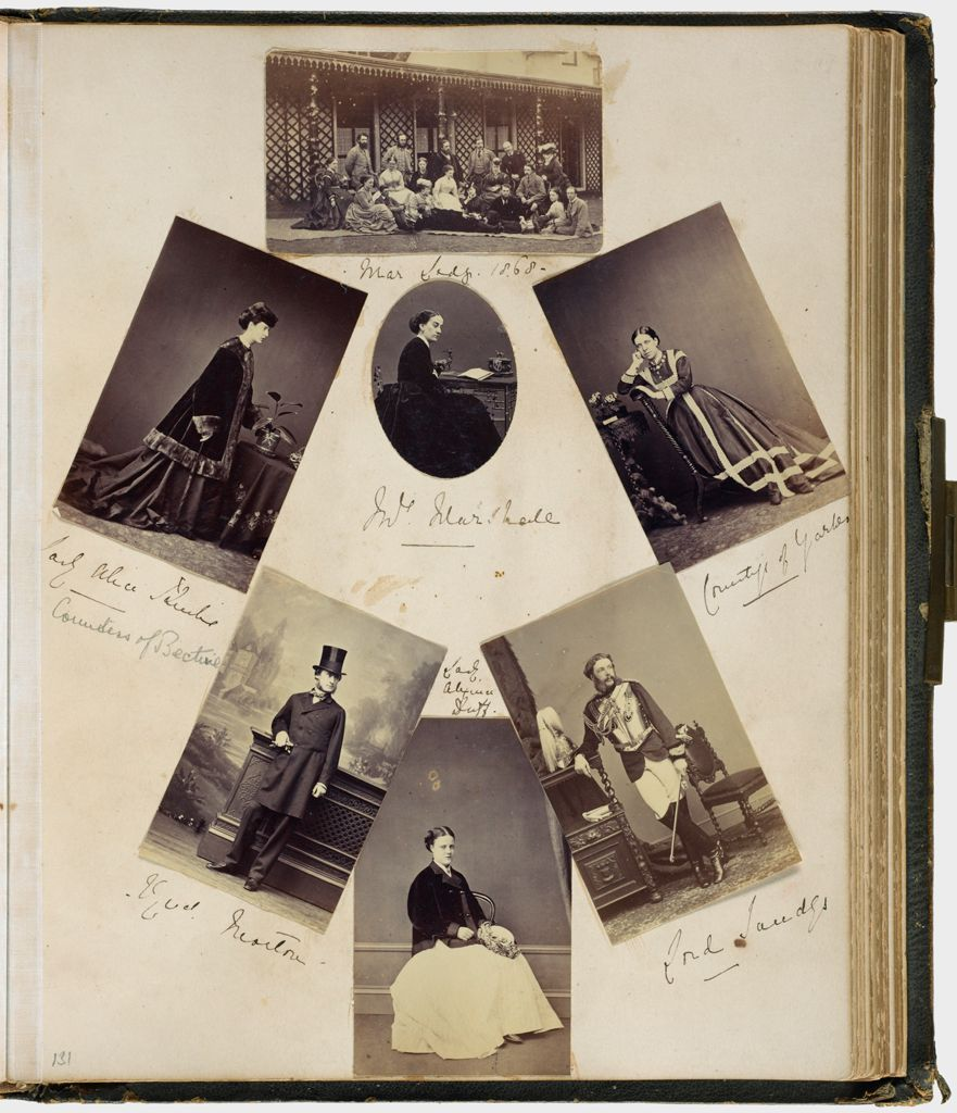 Untitled (Seven Albumen Silver Prints, Center Trimmed To Oval, Clockwise From Top Center, Mar Lodge, 1868; Countess Of Yarmouth; Lord Sandys; Lady Alexina Duff; ? Morton; Lady Alice Sandys; Center, Mrs. Marshall; Verso: Eight Albumen Silver Prints, Four Trimmed To Oval, Clockwise From Left, Viscount? Mrs. Musgrave(?); Earl Of Stradbroke; Colonel Tower; Lady Cecily Nevill; Captain Coventry(?); Cuthbert Jacklin(?))