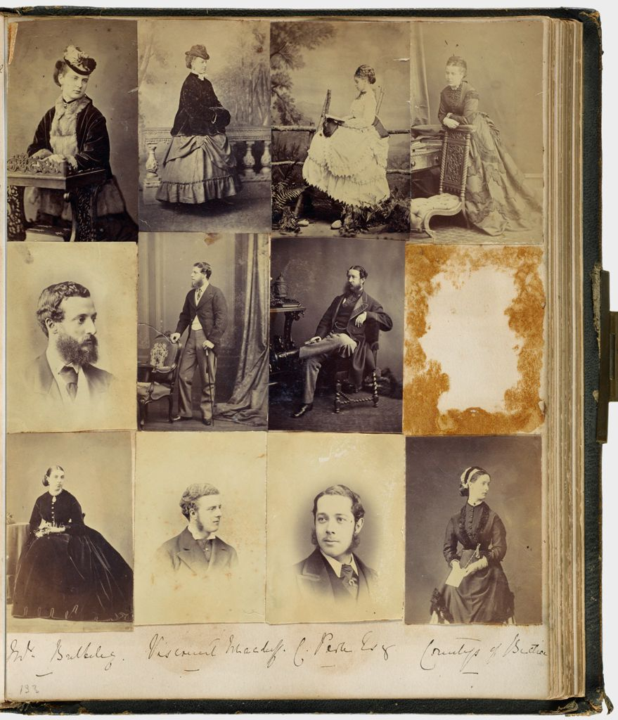 Untitled (Eleven Photographs Top Row, Left To Right, Mrs. Poole; Lady Emily Dyke(?); Miss Creighton(?); Miss (?); Center Row Left To Right, Viscount Holmesdale; Lord A. Gower; Col. Hawkes(?); Mr. Dyke (Photo Missing); Mrs. Buckeley; Viscount Macduff; C. Porter(?), Esq.; Countess Of Bective; Verso: Two Views Of The River Between Maidenhead And Cliveden, Dated 1871)