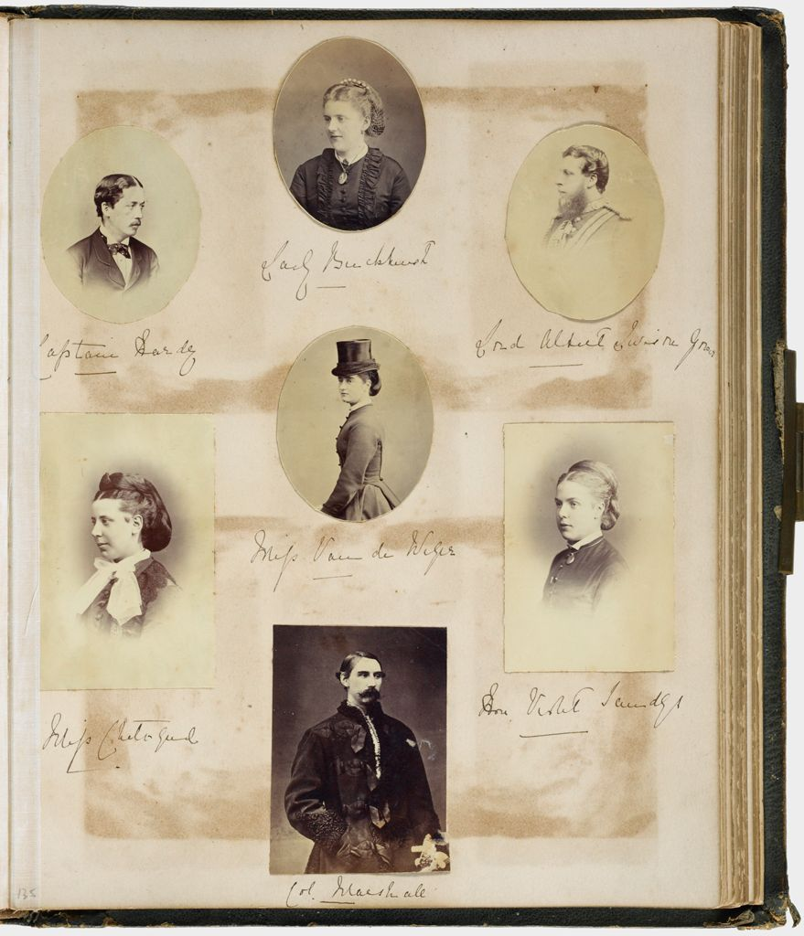 Untitled (Clockwise From Top Left, Capt. Hardy; Lady Buckhurst; Lord Albert Leverson Gower; Hon. Violet Sandys; Col. Marshall; Miss Chetwynd; Center, Miss Van Der Wise; Verso: Earl Of Yarmouth; Countess Of Yarmouth; Col. Gordon; Ctr. William Hood)