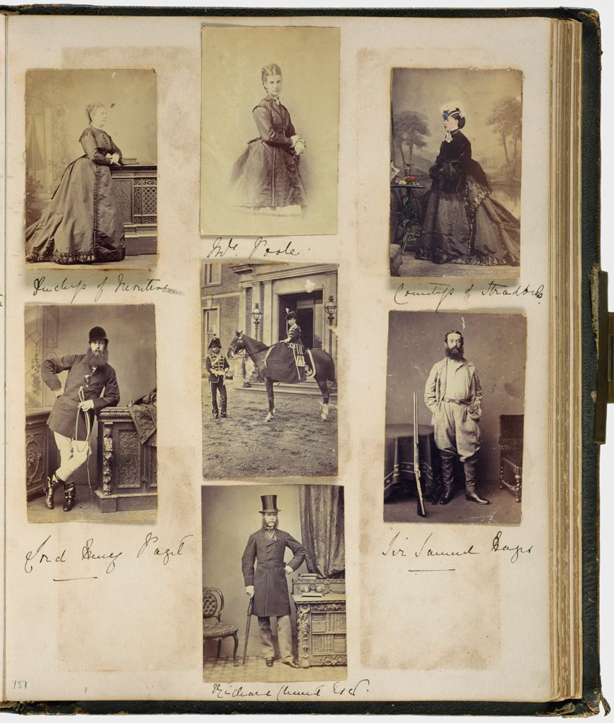 Untitled (Seven Photographs, Clockwise From Top Left, Duchess Of Montrose?; Mrs. Poole; Countess Of Stradbroke; Sir Samuel Hayes; Richard (?); Lord Henry Paget; Center, Unidentified Woman On Horseback, Unidentified Man In Uniform At Horse's Head; Verso: Photograph Is Missing)