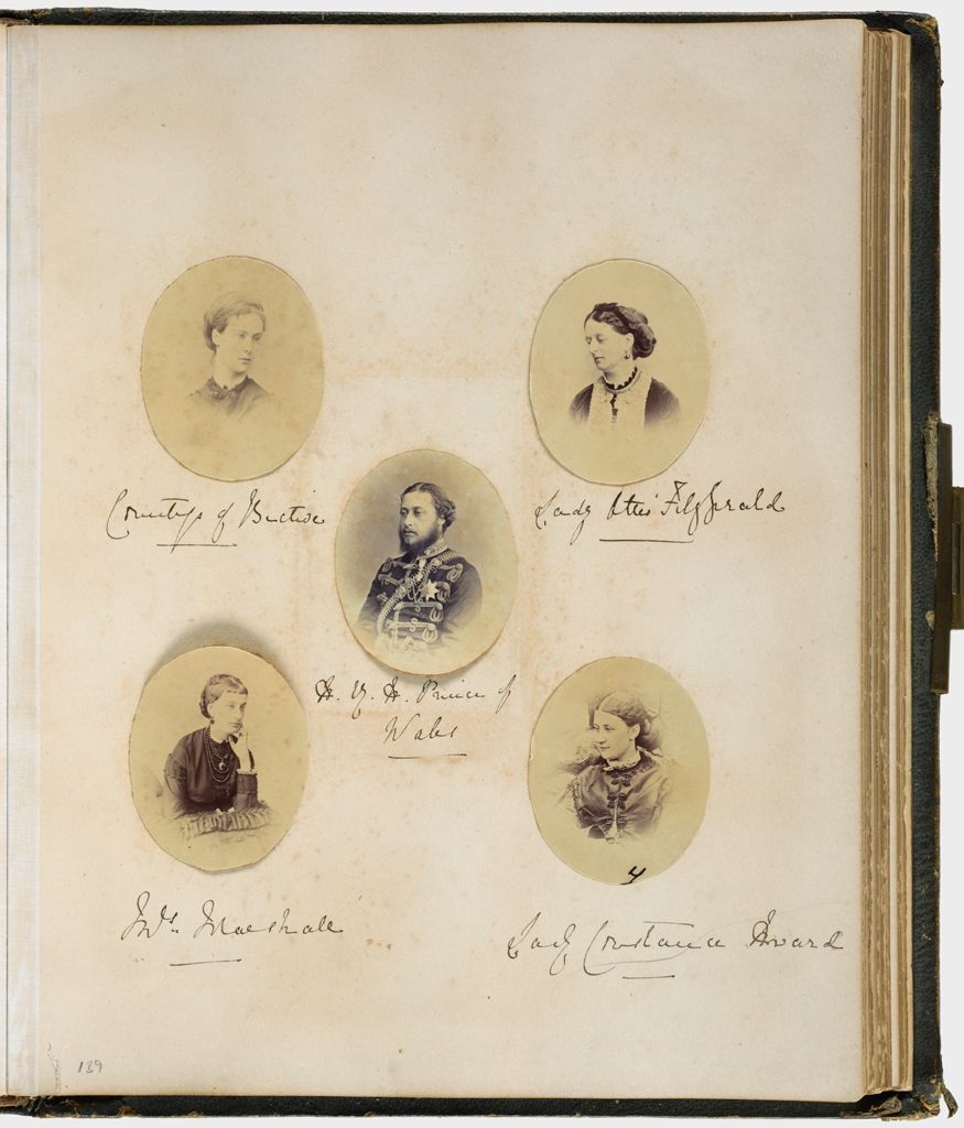 Untitled (5 Photographs, Trimmed To Oval, Clockwise From Left, Countess Of Bective; Lady Otis Fitzgerald; Lady Constance Howard; Mrs. Marshall; Center, H.r.h. The Prince Of Wales; Verso:  Princess Alexandra; 9 Photographs Of Unidentified Children)
