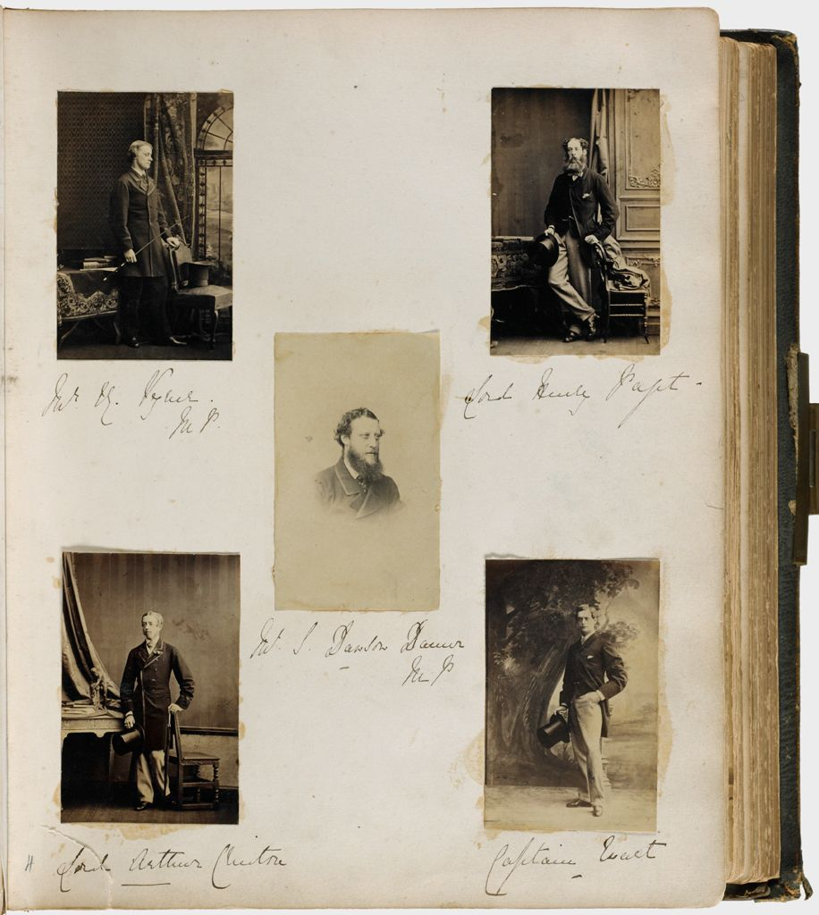 Untitled (Five Photographs, Clockwise From Upper Left, Full Length Of Man Standing Holding Crop Or Whip(?) In Right Hand, Left Hand On Back Of Chair With Hat On Seat Of Chair; Lord Henry Paget; Captain Ewart; Center, Mr. L. Dawson Damer)