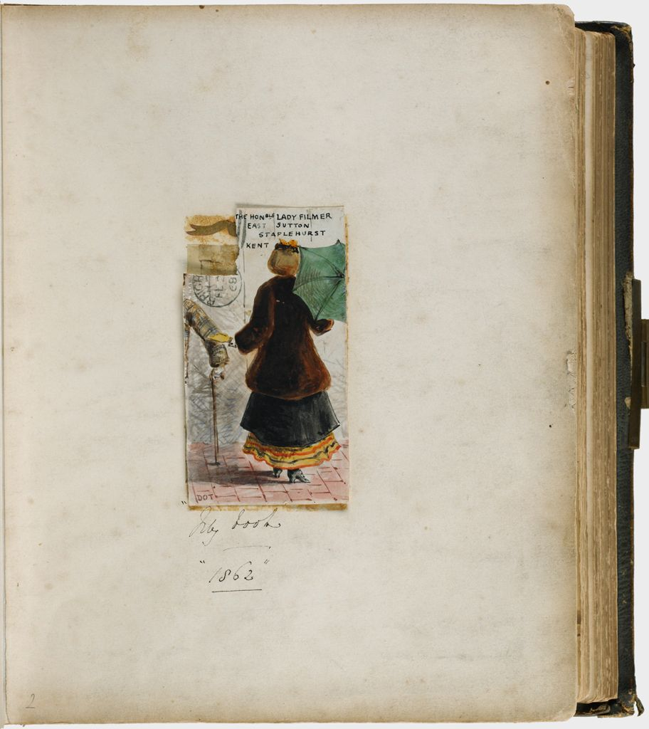 Untitled (Watercolor Drawing, Loose In Album, Once Glued Over An Albumen Silver Print Of Lady Mary Filmer (P1982.359.7B) Mounted To Page With Metallic Paint Decoration With Inscription)
